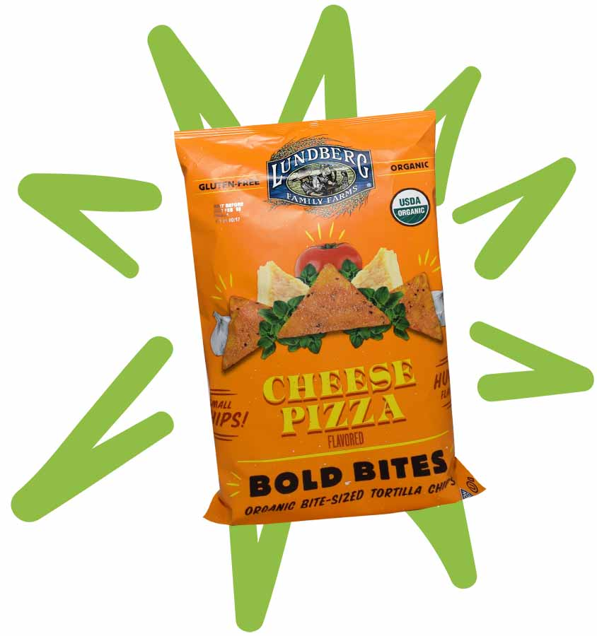 Lundberg Cheese Pizza Flavor Bold Bites Tortilla Chips