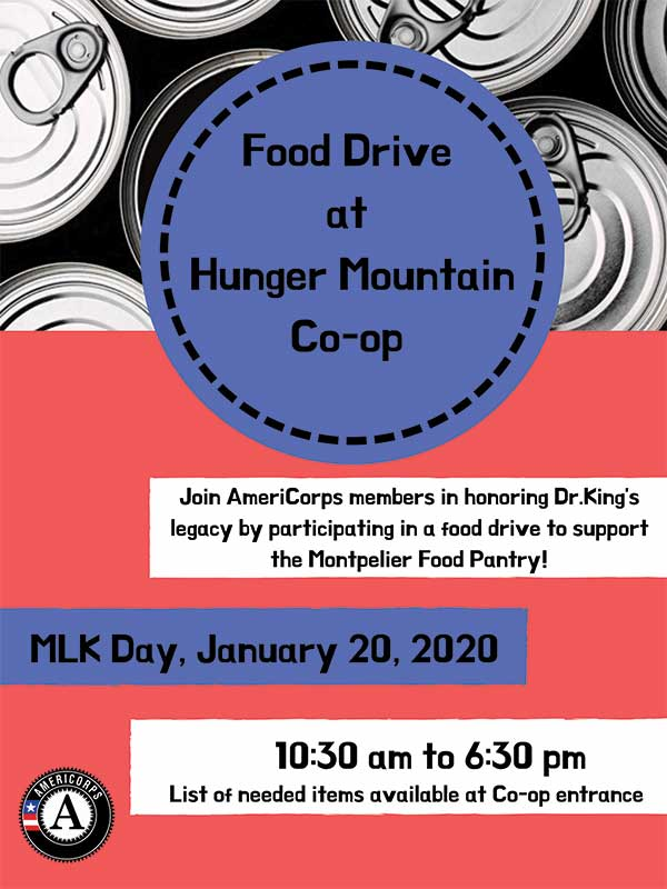 Poster for MLK food drive on January 20