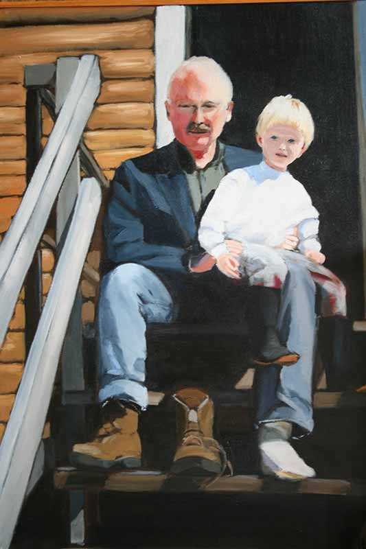 Painting by Sue Stukey - Grandpa and Bobby with boots